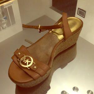 Michael Kors leather ankle strap platforms